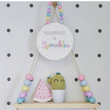 2016 INS Kids Baby Nordic Style Wooden Beads Pearl Linen Wall Shelf Storage Shelves Organization Decorative Hanger Home Decor