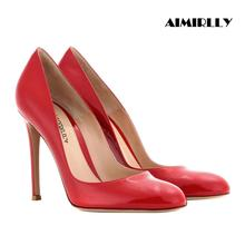 цена на Women Shoes High Heels Pumps Round Toe Formal Evening Party Shoes Wedding Shoes Sexy Thin Heels Patent Leather Black Red Slip On