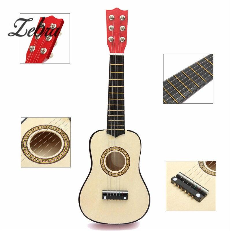 Zèbre 21 pouce Débutants Enfants Enfants Pratique Acoustique Guitare Ukulélé En Bois 6 Cordes avec Pick Guitare Instrument de musique