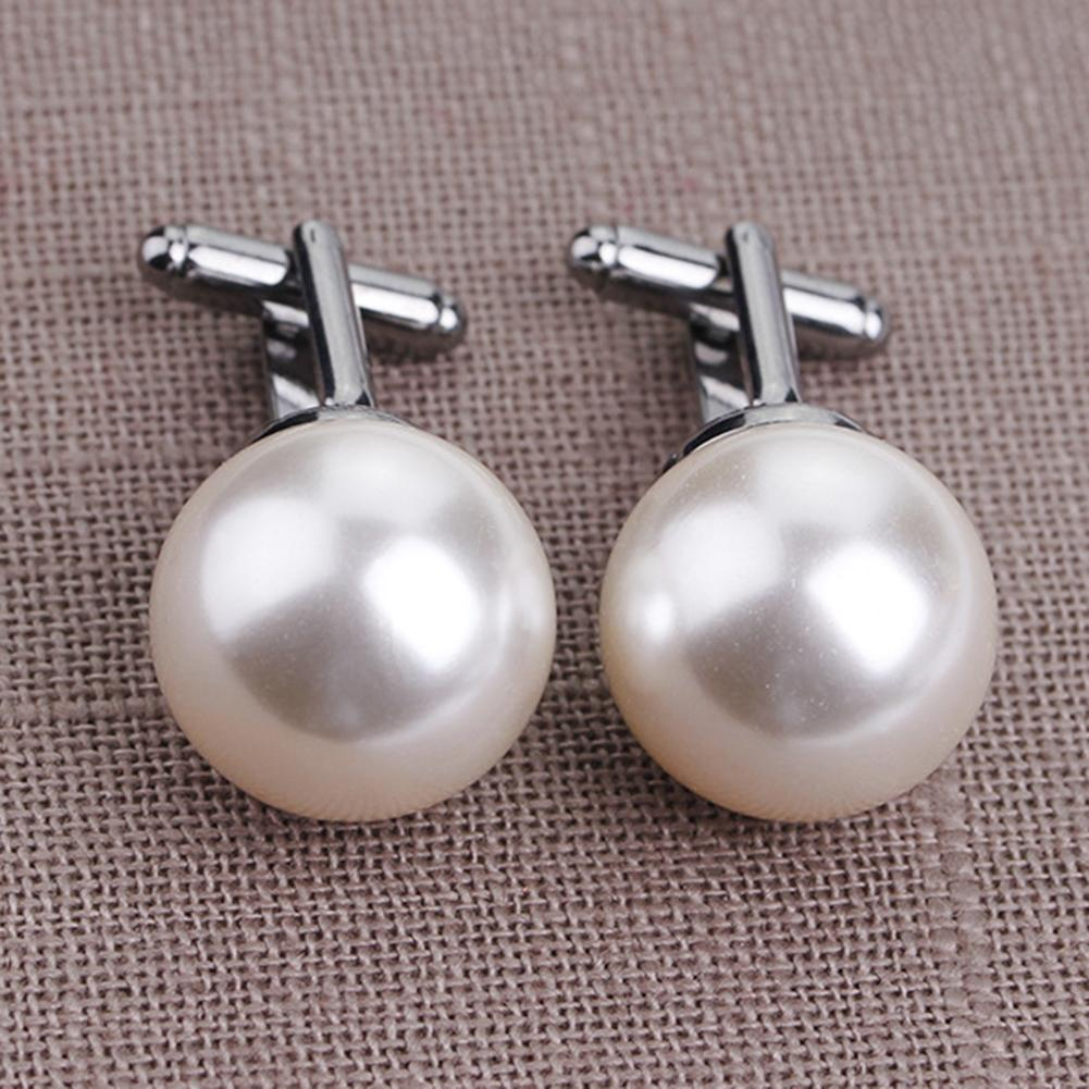 Wholesale 2Pcs Fashion Unisex Pearl Cufflinks Shirt Sleeve Buttons Clothes Accessory Gift