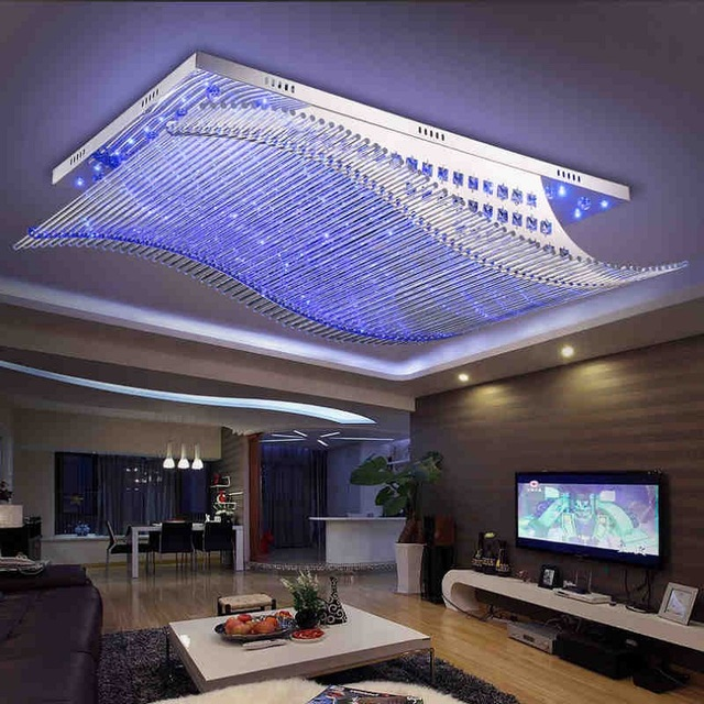 Modern led rectangular hall crystal ceiling lamp bedroom study lamps and lanterns ultrathin dining room lighting Ceiling lights