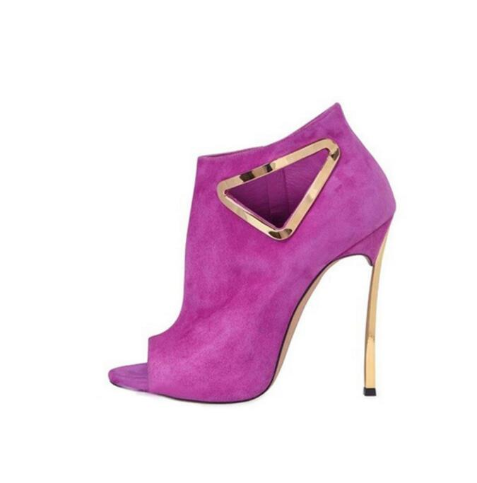 Hot Selling Pink Suede Women Boots Peep Toe Metal Blade Heels Triangle Stiletto Heel Boot Cut out Gladiator Ankle Boot Shoes in Ankle Boots from Shoes