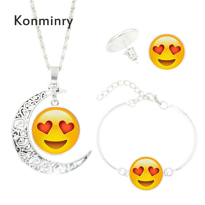 Konminry Cute Face Jewelry Sets For Women Glass Dome Expression Pattern Moon Shape Necklace Stud Earring Jewelry Sets