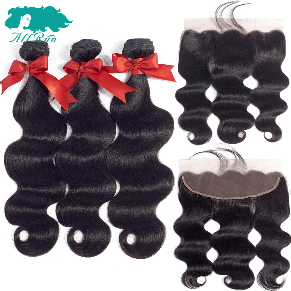 Allrun Peruvian hair Body Wave Human Hair Natural color 3 pieces Bundles With Lace Front ...