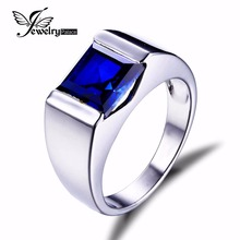 JewelryPalace Males Blue Sapphire Ring 925 Sterling Sliver Jewellery New Wholesale Basic European Males Jewellery Sapphire Jewellery