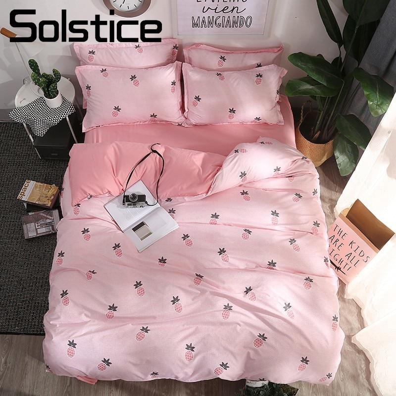 Solstice Home Textile Pink Soft Girls Bedding Sets Kids Teenage Bedlinen Queen Twin Pine Duvet Cover Pillow Cases Flat Bed Sheet