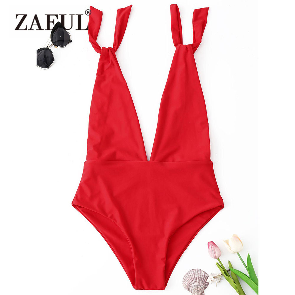 ZAFUL One Piece Suit Plunging Neck High Cut Trikini Push Up Monokini Swimsuit Sexy Bathing Suit Women Bodysuit Swimwear 2018 2017 new summer one piece swimsuit printed geometry bathing suits swimwear women bodysuit deep v neck monokini beautiful trikini