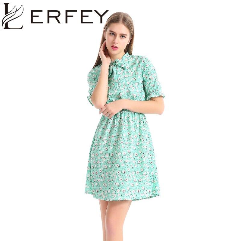 LERFEY Summer Dress Women Short Sleeve Floral Print Casual