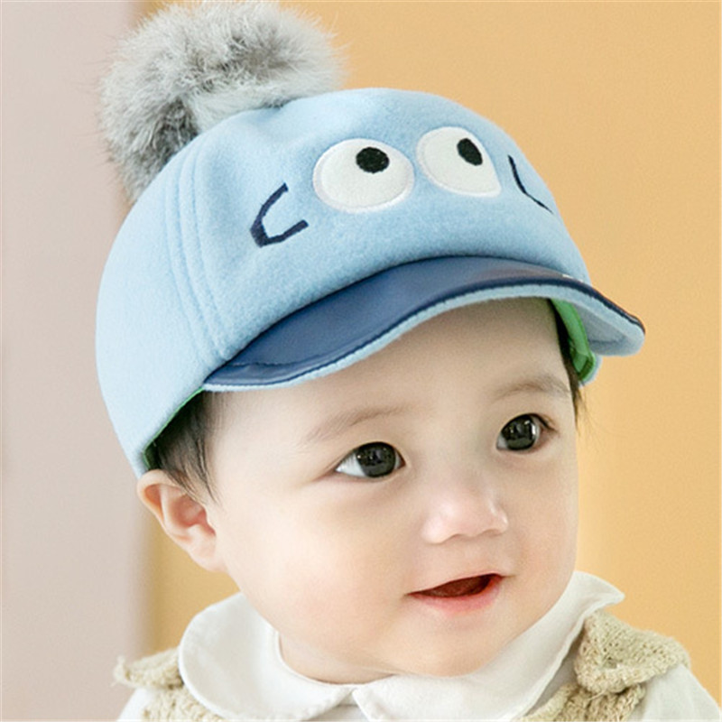 388484fd 2016 New Cute Cartoon Baby Hat Child Boys and Girls Flat Cap Unisex Toddler  Baseball Cap Hairball Newborn Sun hat Infantile Wear