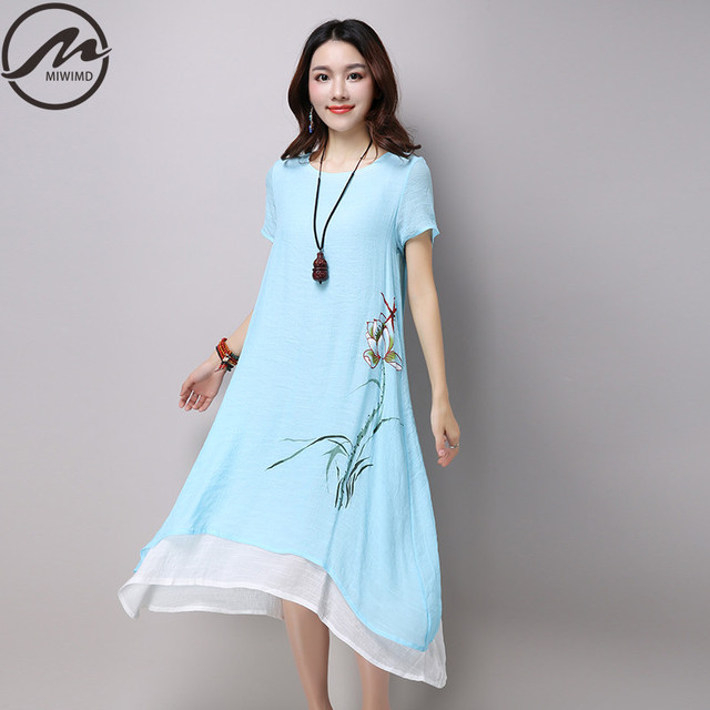 914bc85fabd6 MIWIMD Plus Size Women Summer Dresses 2017 New Fashion Casual Print Short  Sleeve Loose Cotton Linen