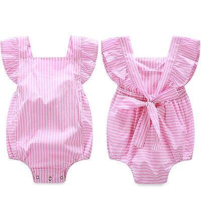Baby rompers младенческой девушка Новорожденный детская одежда Полосатый хлопок подтяжки рукавов комбинезоны костюмы Комбинезон