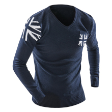 2017 The New V-Neck Long Sleeve UK Flag Man Sweaters Slim Fitness Elastic Pullovers Pocket Design Casual Knitwear Fashion Men