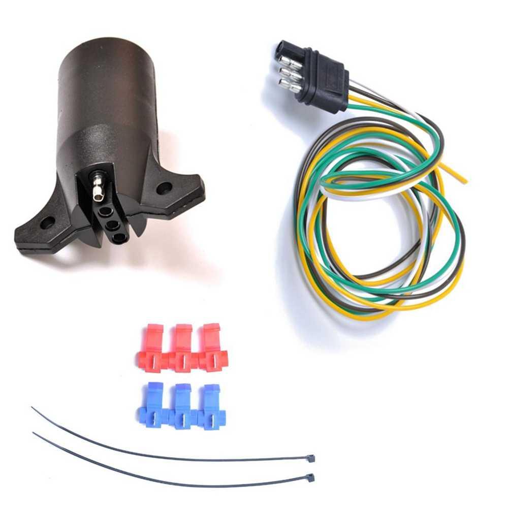 medium resolution of us standard 7 way round to 4 pin flat trailer light adapter plug connector w