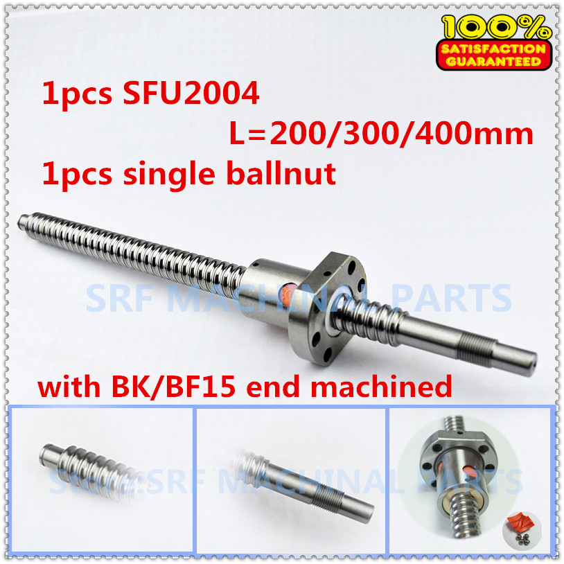 20mm Rolled Ballscrew 1pc SFU2004 L=200mm/300mm/400mm +1pcs SFU2004 Flange Single Ballnut with BK/BF15 end machined 20mm Rolled Ballscrew 1pc SFU2004 L=200mm/300mm/400mm +1pcs SFU2004 Flange Single Ballnut with BK/BF15 end machined