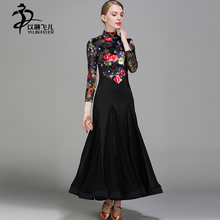Women Ballroom Dance Competition Dresses Velvet Floral Dance Dress Long Sleeve Modern Waltz Ballroom Tango Standard Costumes