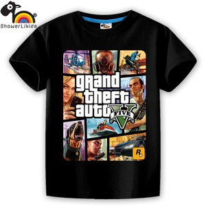 showerlikids quality cotton short sleeve T-shirt boy girl children kid clothing colorful street hot fight GTA 5 sPrice Scolor001(China)