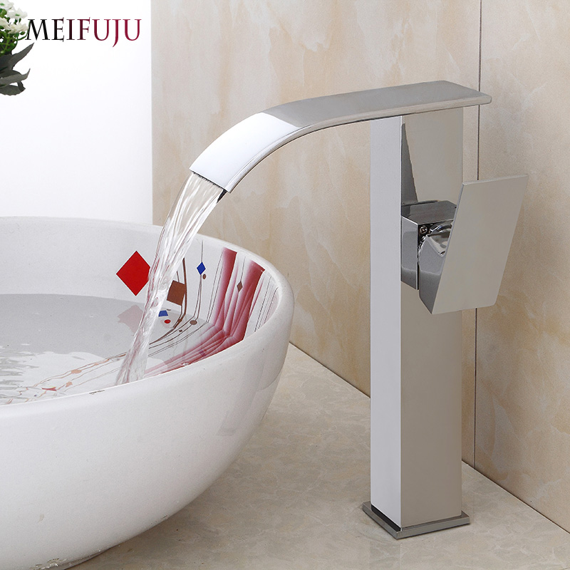 Waterfall Tall Bathroom Faucet Oil Rubbed Bronze Black Basin Faucet Bathroom Faucets Sink Water Mixer Tap Brushed Nickel Chrome square bathroom sink faucet tall waterfall bathroom basin sink mixer tap oil rubble bronze black faucets