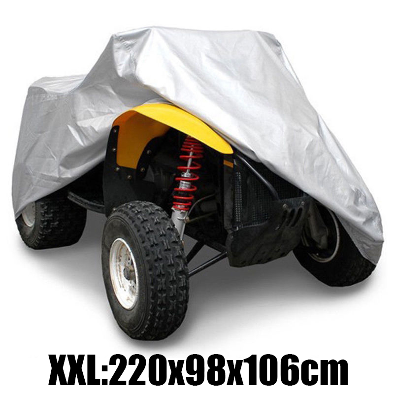 1pc XXL 190T Waterproof Anti-UV Dustproof Quad Bike ATV Cover For Polaris Hon-Da For Yamaha Su-Zuki Silver ATV Quad Bike Cover