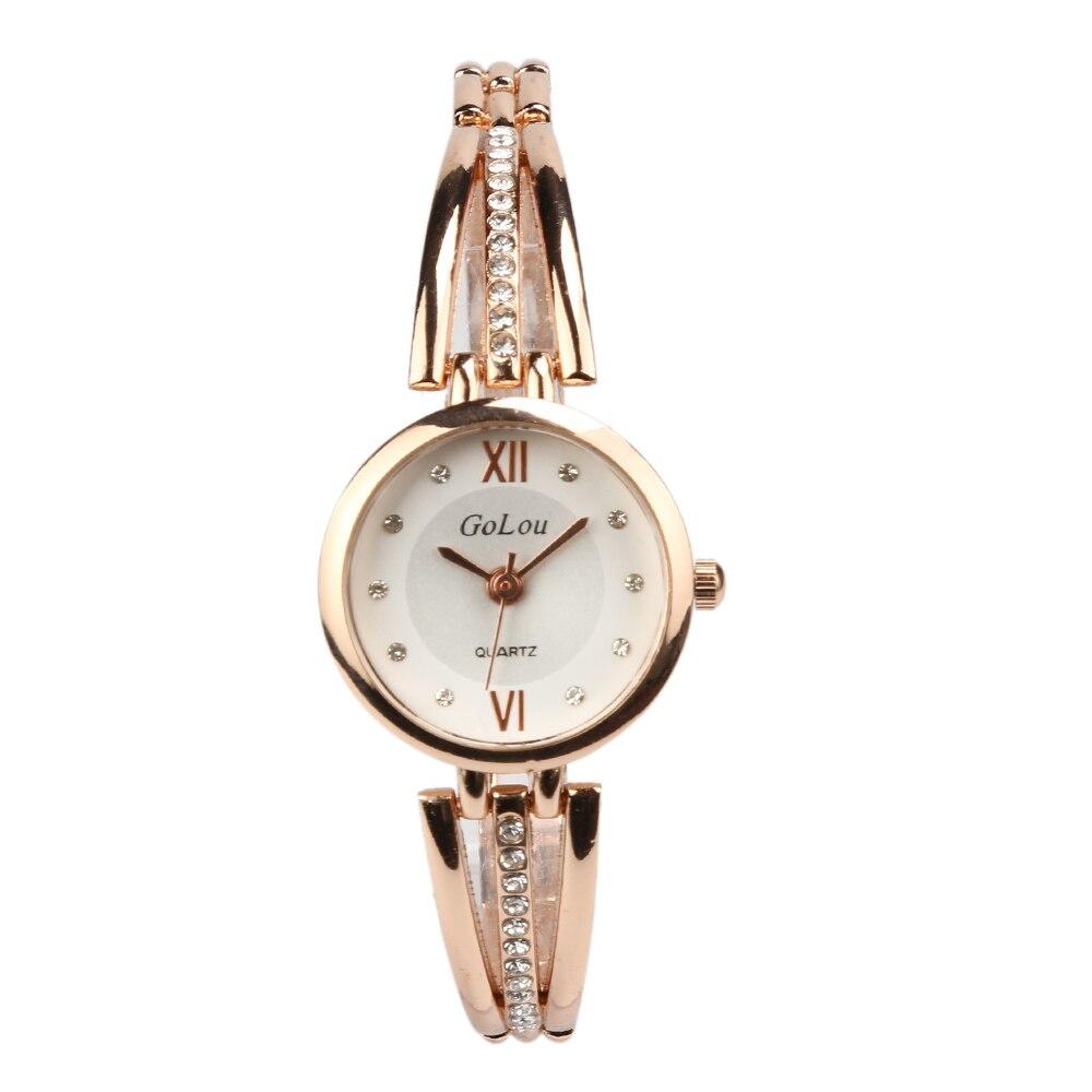 1adf06f4eab Luxo em Ouro Rosa Pulseira Relógios Mulheres Moda Feminina Vestido De  Cristal de Quartzo Relógio de