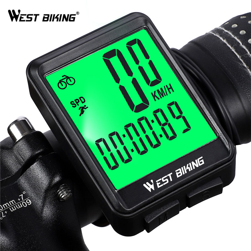 WEST BIKING Bike Computer Wireless And Wired Cycling Odometer Stopwatch LED Measurable Speedometer Rainproof Bicycle Computer