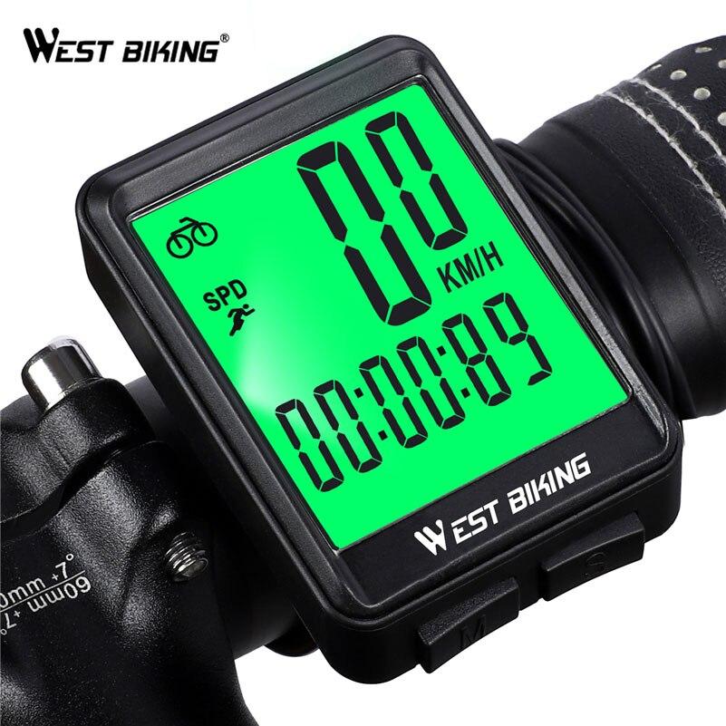 WEST BIKING велосипедный компьютер беспроводной и проводной велосипедный одометр Секундомер LED измеряемый Спидометр непромокаемый велосипедны...