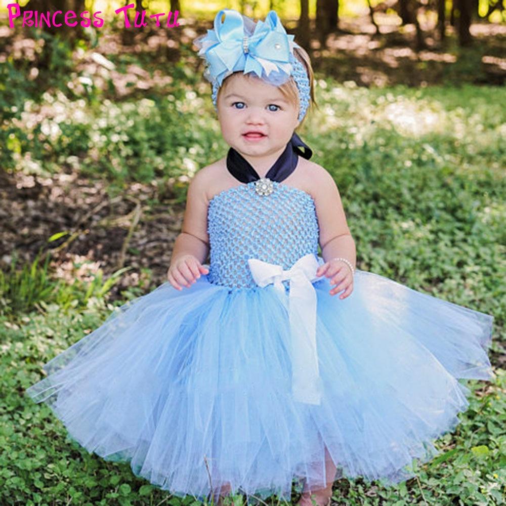 Princess Cinderella Baby Girl Tutu Dress Sky Blue Newborn
