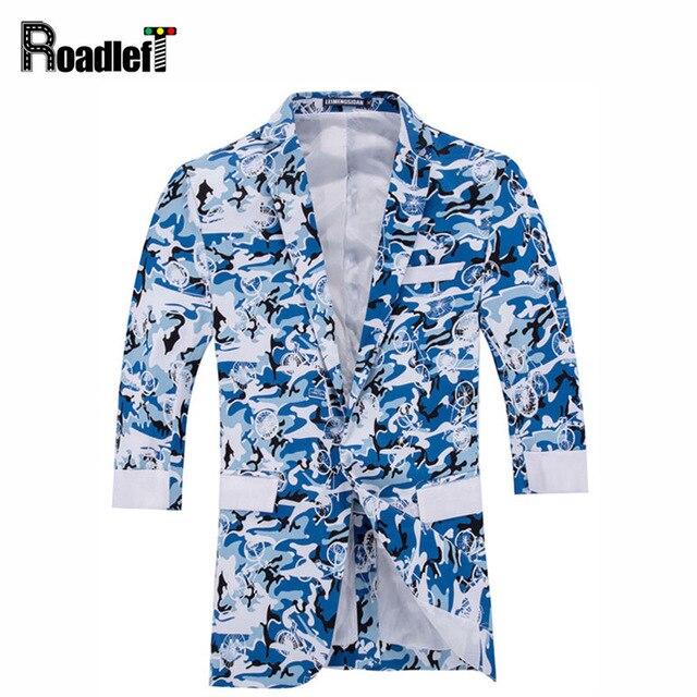 Camuflaje de la moda masculina blazers estampado floral tops hombres camiseta slim fit media manga trajes de chaqueta de los hombres casual chaqueta blazer masculino
