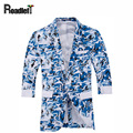 Male fashion camouflage floral print blazers tops Men's slim fit half sleeve jacket suits men casual jacket blazer masculino