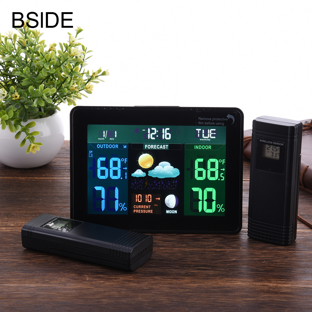 Indoor Outdoor Temperature Monitor Digital Weather Station DCF77 RCC Thermometer RH% Barometric Pressure 2 Wireless Sensor digital indoor air quality carbon dioxide meter temperature rh humidity twa stel display 99 points made in taiwan co2 monitor