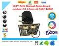 LUCKER SECURITY CCTV AHD Manual Zoom board module 2.8-12mm 4X 960P 1080P UTC Cashier camera XM320+F02 2.0MP 1920*1080