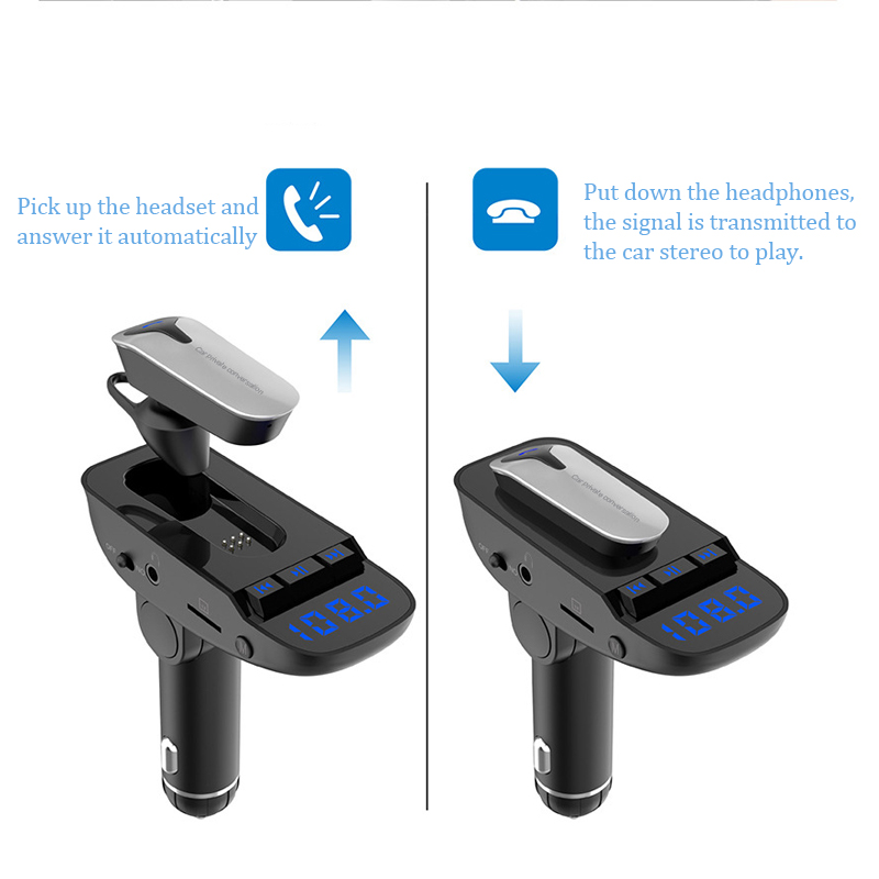 Car Bluetooth earphone Earbuds intelligent Business headphone TF Card MP3 Player Dual USB Car Charger Base Car Hands free Call in Phone Earphones Headphones from Consumer Electronics