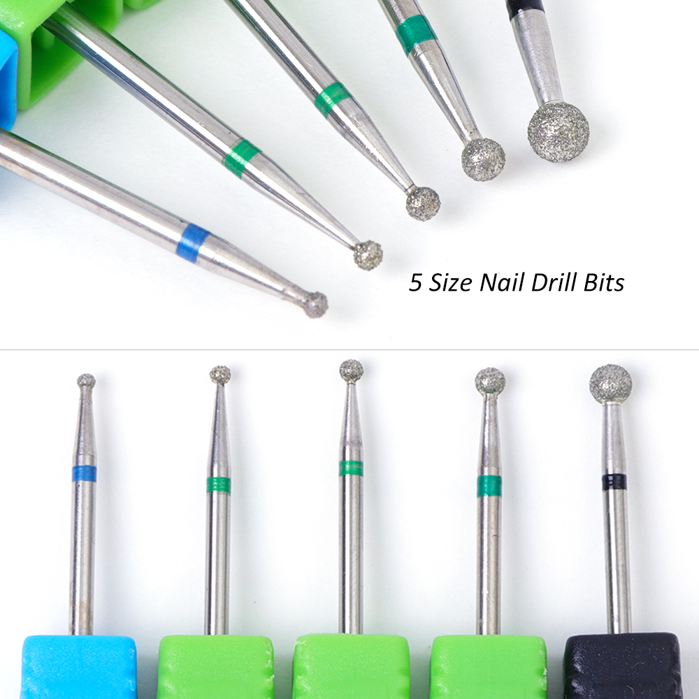 5 Type Nail Drill Bit Ball Diamond Rotary Burr Milling Cutter Round Head For Manicure Electric Nail Drill Accessories TRJG01-05