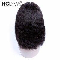 פאות תחרה מול פרואני שיער אדם פאות בוב קצר ישר יקי אמצע חלק צפיפות 150% ללא רמי שיער HCDIVA