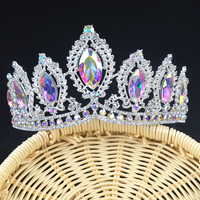 Luxury Vintage silver AB Wedding Crown Alloy Bridal Tiara Baroque Queen King Crown marquise Rhinestone half round Tiara Crown