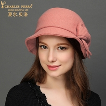 Charles Perra Brand Women Hat NEW Autumn Winter Wool Caps Keep Warm Elegant Lady Fashion England Style Fedoras 0212
