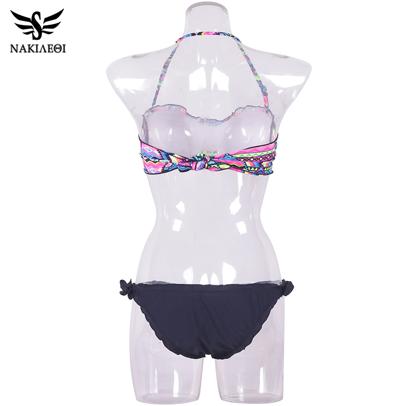 NAKIAEOI 2018 New Sexy Bandeau Bikini Women Swimwear Push Up Swimsuit Female Brazilian Bikini Set Printed Floral Bathing Suits 5