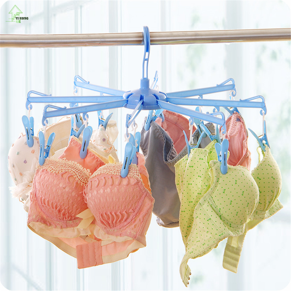YIHONG The Folding Clothes Hanger Can Be Folded Clothes Hanging Peg Underwear Socks Dry Plastic Clip Windproof Clothes Hanger
