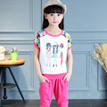 2016 Children Clothing Set Girls Cartoon Characters Print Girls Tshirt Short Sleeves + Kids Summer Pants Sets 2pcs Track Suits