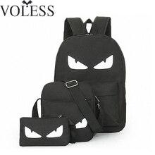 3Pcs/Sets Womens Man Luminous Black Backpacks Canvas School Book Bags Computer Backpack women student bag Large capacity mochila