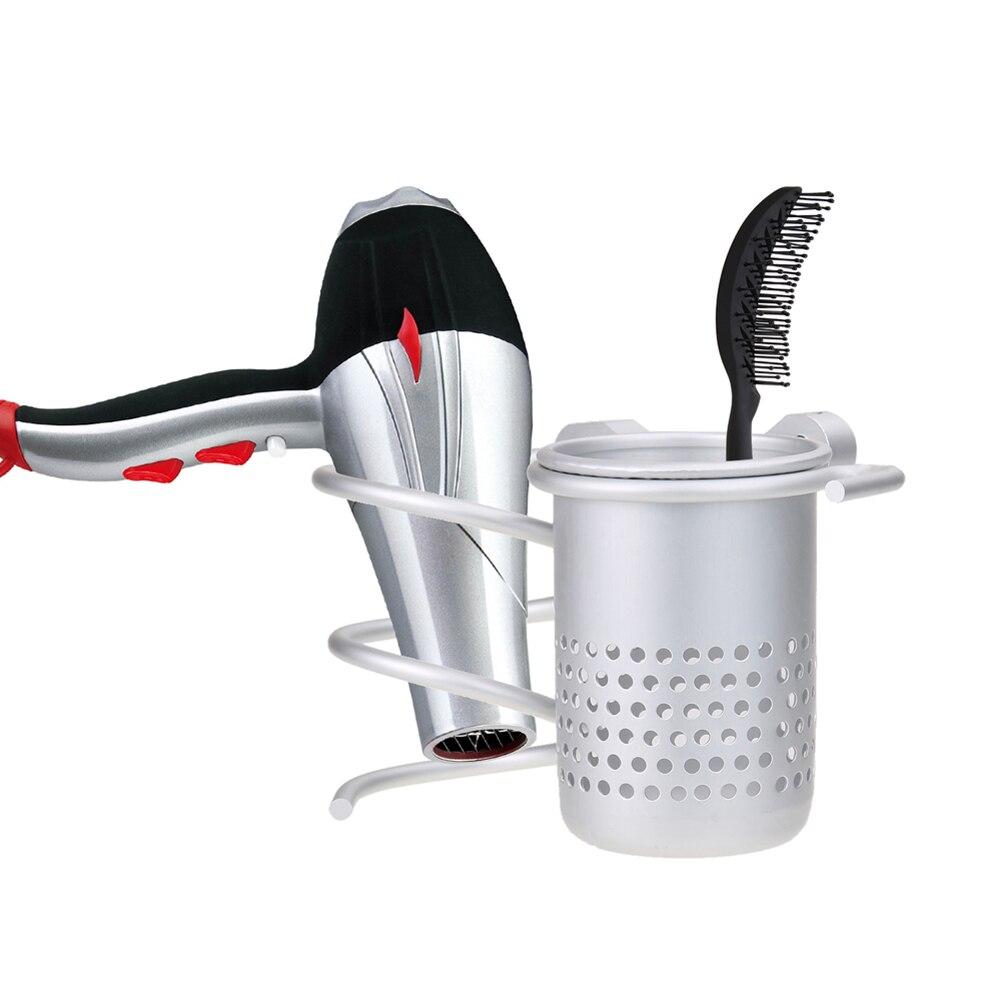 Hair Dryer Holder Rack Wall Mount Hair Drier Comb Flat