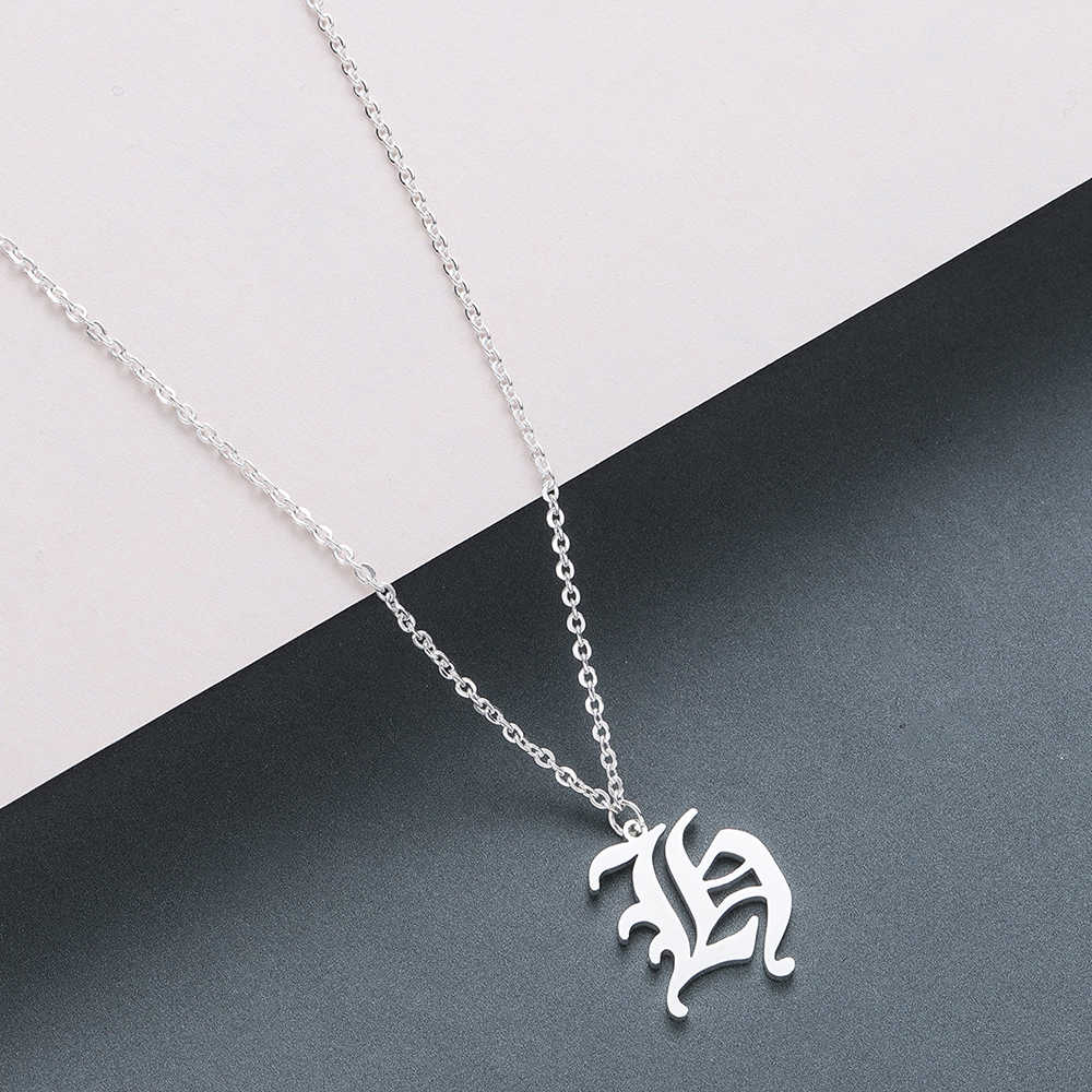 Chandler Tiny Dainty Initial Letter H Necklace Personalized Old English H Name Jewelry For Women Accessories Girlfriend Gift