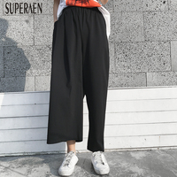 SuperAen Asymmetrical Ankle length Pants 2019 Spring and Summer New Women Pants Solid Color Elastic Waist Europe Pants
