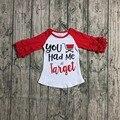 Детская осенняя футболка с оборками и рукавами красного цвета для девочек, детская одежда, футболка с надписью «you hold me at target» для девочек, одежда - фото