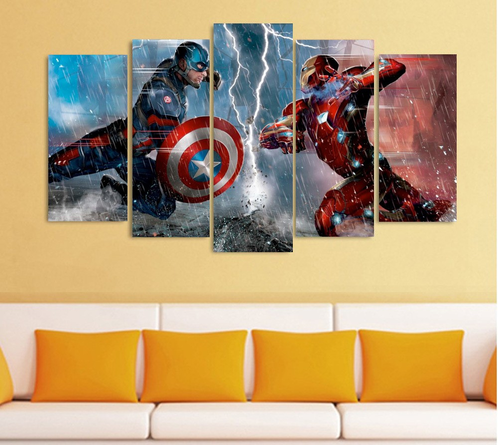 5 Panels Artwork Canvas The Avengers Painting Wall Art Paintings For ...
