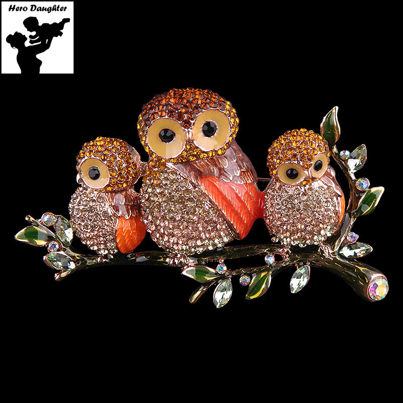Metal Sparkling Rhinestone Owl Brooch Pins for Women High Quality Animal Enmal Luxury Brooches Pins Cute