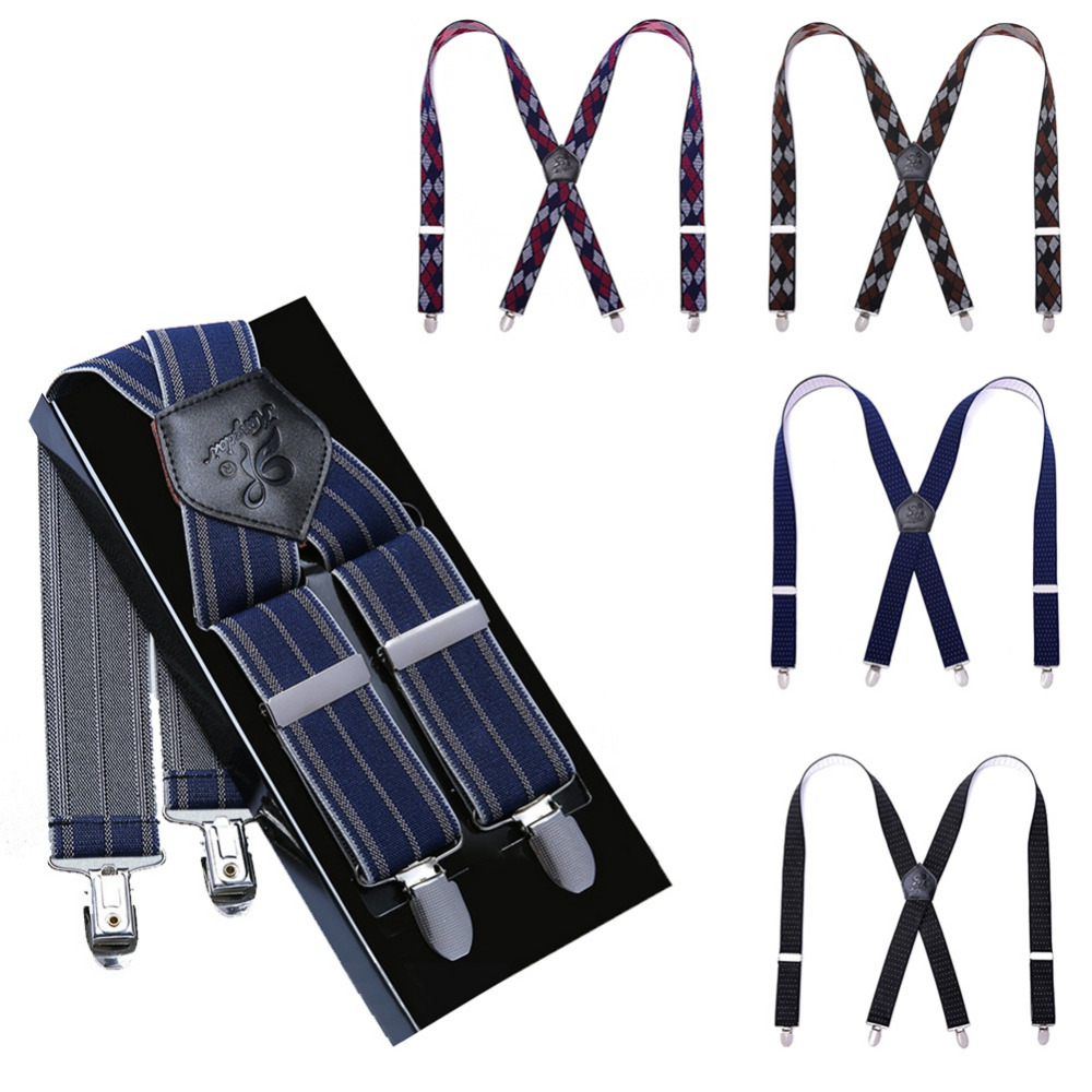 Adjustable Length Leather Elastic Back Suspenders Pant Tie Set Wave Point Stripe Rhombic Suspenders For Men