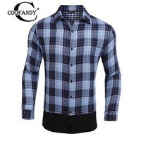 COOFANDY Casual Shirt Men Spring Plaid Print Fashion Turn Down Collar Long Sleeve Button Down