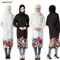 2016 manera de la alta calidad El Islamismo top camiseta de la muchacha de flores ocasionales camisa de manga larga blusas tops tallas grandes para las mujeres musulmanas ropa