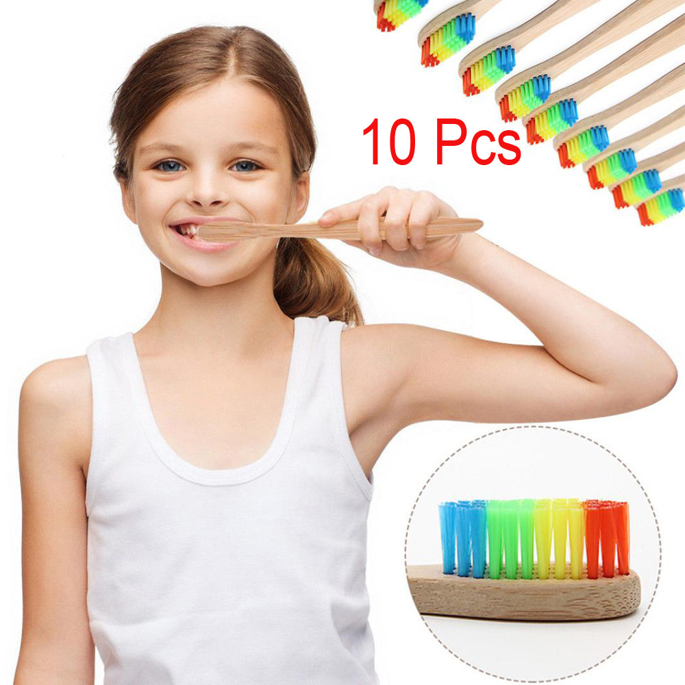 10Pcs Eco-Friendly Rainbow Head Bamboo Soft Fibre Handle Toothbrush Novelty Biodegradable Teeth Brus Tooth Care Cleaner image