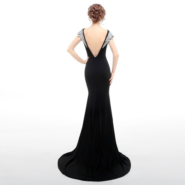 Real Image Black Evening Dress Long Mermaid Boat Neck Sleeveless Sexy Backless Sequins Evening Dresses Vestido De Festa Longo